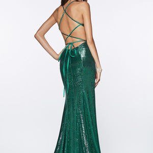 Emerald Leg Slit Prom Long Dress